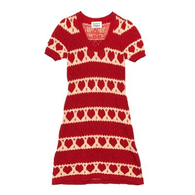 heart knit dress red